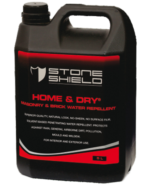 Stoneshield Home & Dry® masonry & brick water repellent is a superior quality natural look, no sheen, no surface film, solvent- based penetrating water repellent, designed to provide protection against rain, moisture, general airborne dirt, pollution, mould and mildew.