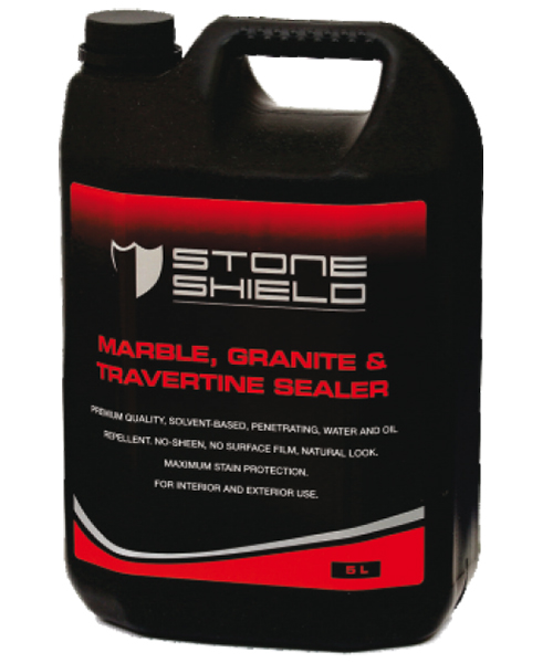 Stoneshield Marble, Granite & Travertine Sealer is a premium quality solvent-based penetrating, no-sheen, no surface film, natural look water and oil repellent for maximum stain protection.