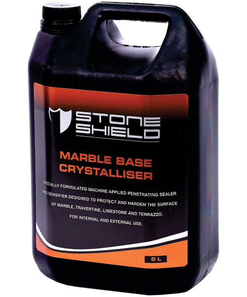 Stonshield Marble Base Crystaliser is a specially formulated machine applied penetrating hardener & densifier, designed to protect and harden the surface of marble, travertine, limestone and terrazzo.