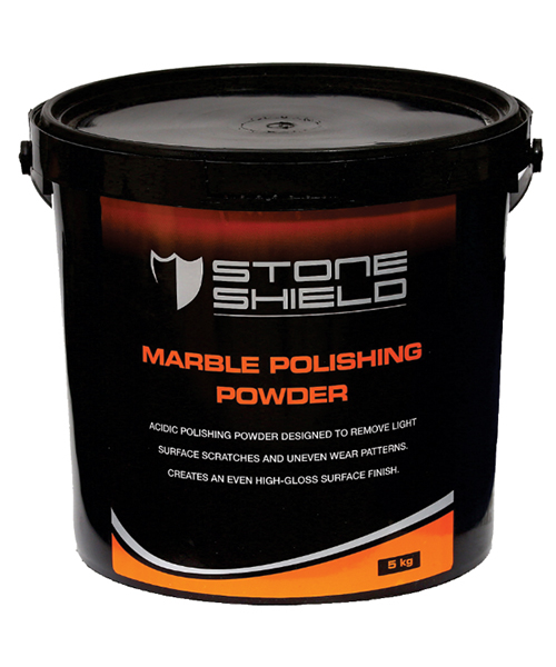 Stoneshield Marble Polishing Powder is an acidic polishing powder designed to remove light surface scratches and uneven wear patterns, to create an even high-gloss polished surface finish.