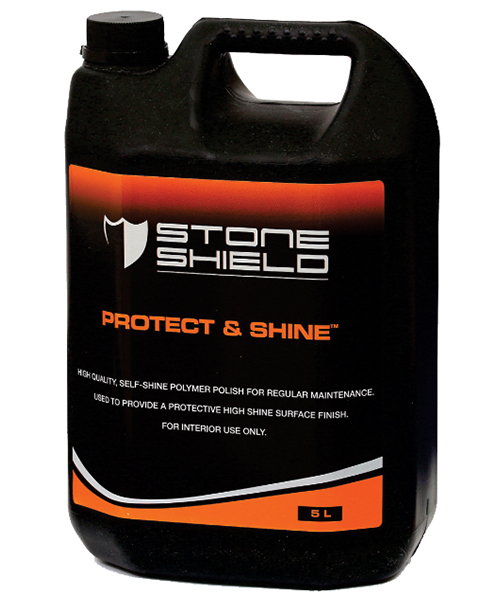 Stoneshield Protect & Shine™ is a high quality self-shine polymer polish for regular maintenance, used to provide a protective high-shine surface finish.