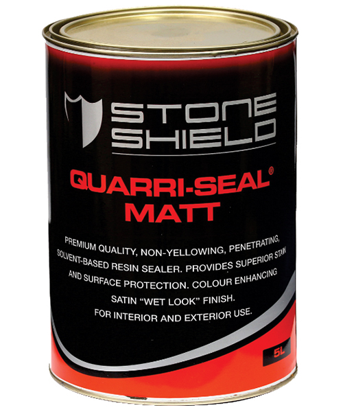 Stoneshield Quarri-Seal® Matt is a premium quality, non-yellowing solvent-based resin sealer that provides a satin finish, superior stain resistance and surface protection