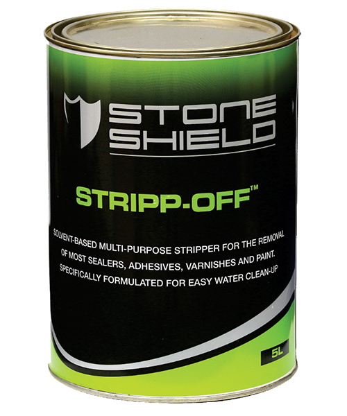 Stoneshield Stripp-Off™ is a solvent-based multi-purpose stripper for the removal of most sealers, adhesives, varnishes and paint.